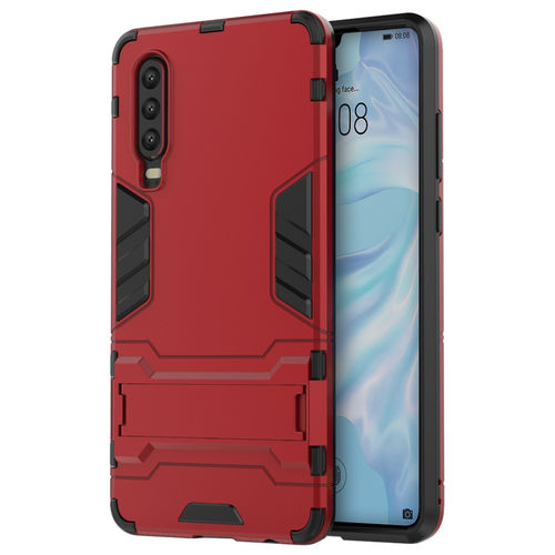 Slim Armour Tough Shockproof Case & Stand for Huawei P30 - Red